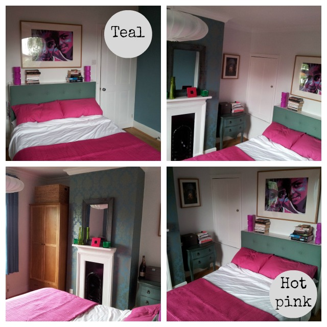 Teal and hot pink master bedroom