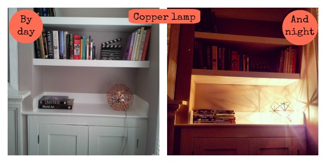 Copper lamp by day and night, John Lewis Nova lamp