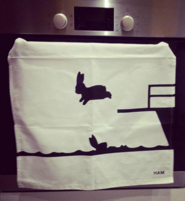 Hammade rabbit tea towel