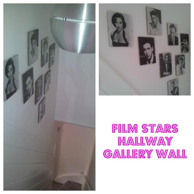 Film stars hallway gallery wall