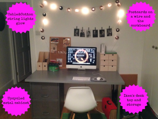 Office makeover breakdown; Cable&Cotton string lights, Ikea desk and storage, upcycling