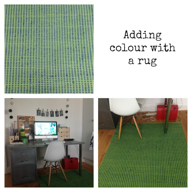 Adding colour with a rug; Habitat rug; green rug