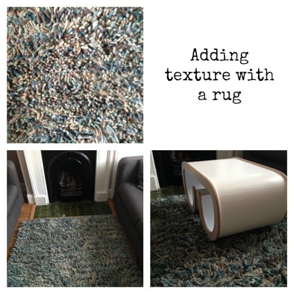 Adding texture with a rug; textured wool rug; Next rug